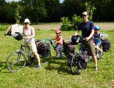 family cycling kit ready to tour